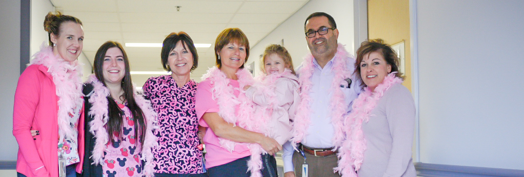 staff at Erie Shores HealthCare raise awareness on breast cancer awareness month